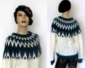 I.V.Y Fair Isle Sweater Hand Knit Sweater Chunky Knit Sweater Sz M Green /White Acrylic Chunky Knit Sweater Ski Sweater