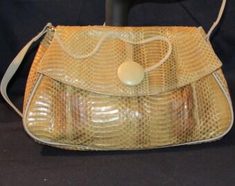 Vintage J RENEE Snake Skin Bag  Shoulder Bag / Clutch Taupe /Tan Python Stripe Purse