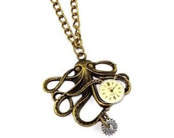 SALE Steampunk Neo Victorian Vintage Watch Bronze Octopus Pendant Necklace
