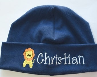 Custom Personalized Embroidered Monogrammed Lion Baby Hat
