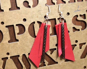 Free shipping Red Leather Earrings Simple stylish Genuine Free Shipping