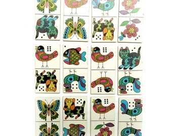 Vintage Lot 12 1970s Animal Domino Cards - Mod Game Pieces - Scrapbooking Craft Supplies - Dutch Flower Power 70s Paper Ephemera Pack