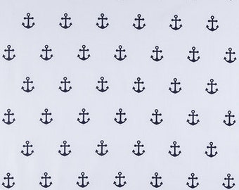 NAVY ANCHOR on WHITE  Fabric,  Yardage Fabric by the fat quarter, half or full yard,  nautical, quilting fabric, apparel fabric,  cotton