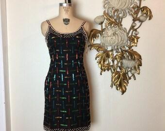 1980s dress beaded dress black dress size small cocktail dress holiday dress mini dress