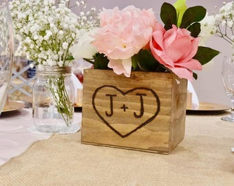 Wedding Centerpiece Rustic wooden box - flower box Table decoration - Country Barnwood style Planter Personalized Heart with Initials