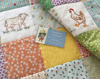 Hand Embroidered Farm Animals Vintage Style Baby Lap Quilt by Cornflower Creations