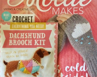Mollie Makes Magazine - It's Cold Outside - Issue 74 - With Dachshund Brooch Kit - 10.00 Dollars