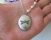 Dragonfly Locket Necklace, Dragonfly Necklace, Oval Locket Necklace, Wedding Birthday Bridesmaids Anniversary, Gift For Her