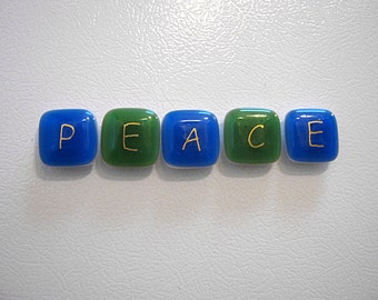 Set of Glass Peace Magnets,Refrigerator Magnets,Fridge Magnets,Blue and Green