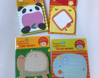 Animal post it notes, adorable animal sticky notes, illustrated elephant notes, panda notepad, frog post it, turtle sticky note