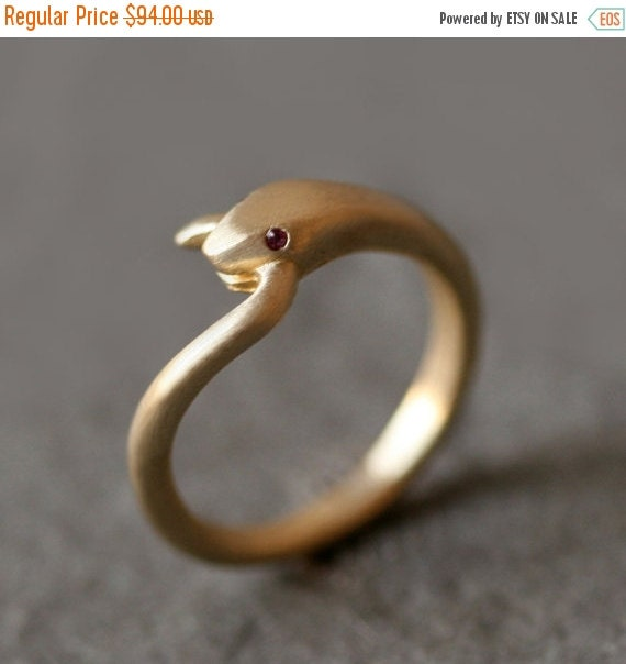 30% OFF WINTER SALE Snake Tail Ring in Brass with Gemstone Eyes