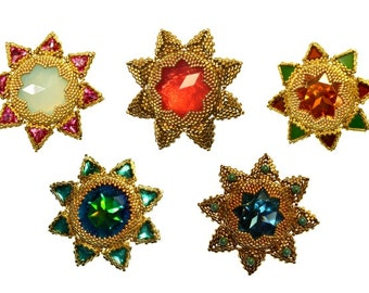 Beading pattern/ beading tutorial for beaded pendant and brooch - Star Flowers