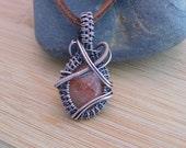 Small Orange Sunstone Cabochon Oxidized Copper Pendant Handmade Wire Wrapped Jewelry Antique Copper Wire Wrapped Jewelry Handmade Medallion