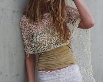 ivory white poncho, loose knit poncho, summer cover up READY TO SHIP
