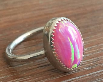 Sterling Silver and Aura Opal Ring