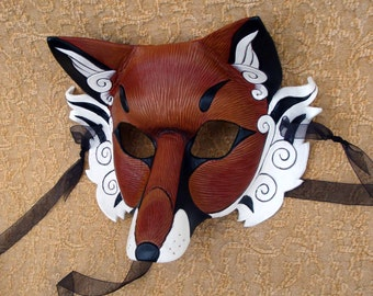 READY TO SHIP Japanese Red Fox Leather Mask ... handmade leather kitsune fox mask masquerade Mardi gras Halloween burning man costume