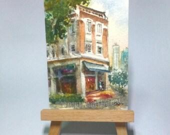 Street scene, Singapore, original aceo watercolor painting, atc id20170424 old architecture miniature art landscape