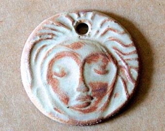 Meditation Face Ceramic Pendant Bead in Rustic Rust - Stoneware Pendant with Extra Large Hole - Spiritual Focal - Primitive Glaze
