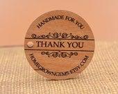 "Custom Wood Thank you Tags Ornate Design | Alder Wood Laser Engraved Personalized Website 1.75"""