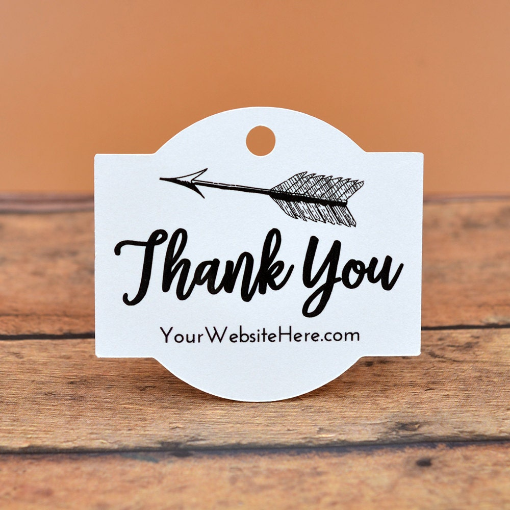 Custom rectangle thank you tags 60 tags boho style for Just my style personalized jewelry studio
