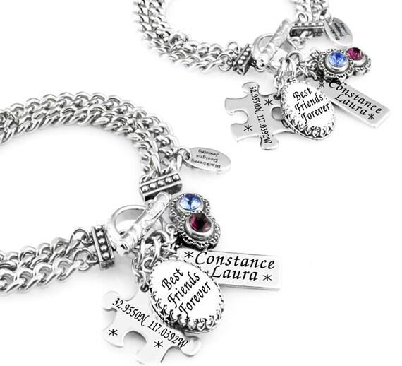 custom best friends charm bracelet set of 2 friendship