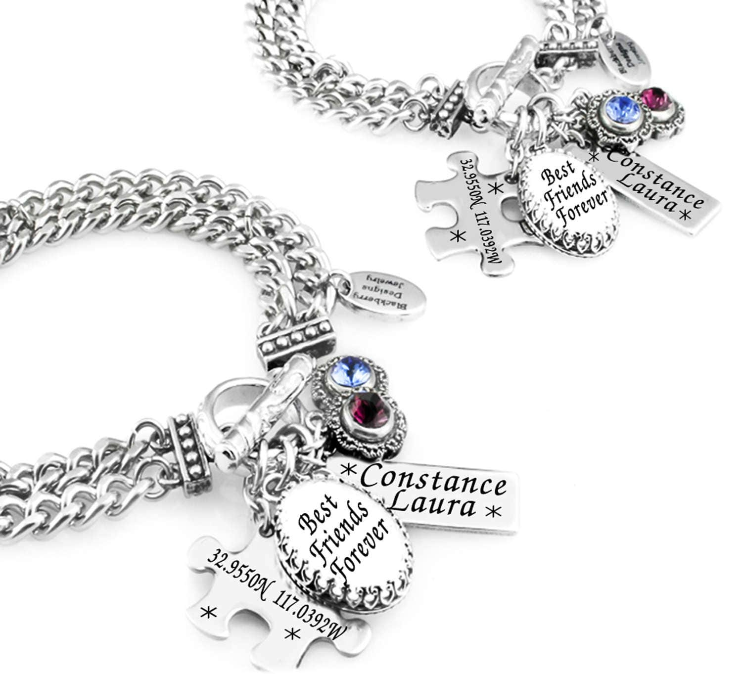 Custom Best Friends Charm Bracelet Set Of 2 Friendship