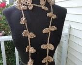 Crochet Lariat Necklace - Crochet Necklace Leaves - Sale - Beige Necklace - Wrap - Scarf