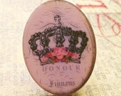 November Sale - Two Pink Crown 40x30mm Plastic Cabochons (51-14B-2)