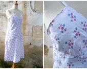 """Vintage 1910/1920  French  salmon floral """"petits bouquets"""" pink cotton slip /lingerie size S"""