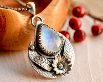 Rainbow Moonstone Necklace, Boho Style Pendant, Botanical Metalwork, Oxidized Finish, 925 Silver Necklace