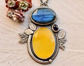 Labradorite Necklace, Yellow Chalcedony Necklace, Yellow Stone Pendant, Blue Stone Necklace, Iolite Pendant, Handmade Artisan Jewelry
