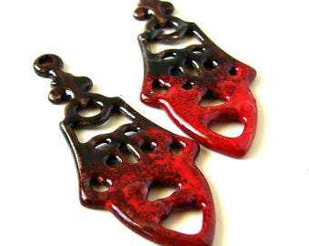 Red Enamel Long Drop Beads/Charms