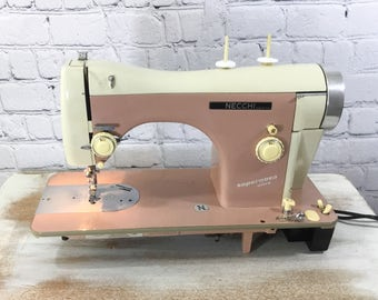 Necchi Sewing Machine - Vintage Restored Classic BF Supernova Ultra - Pink and White