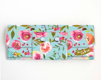 Vinyl Long Wallet - Pastel Floral Blue / flowers, vegan, pretty, large wallet, clutch, card case, vinyl wallet, blue, roses, peonies, peony