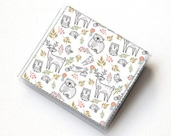 Vinyl Moo Square Card Holder - In the Woodland / case, vinyl, snap, wallet, mini card case, moo case, square, woodland animals, vegan