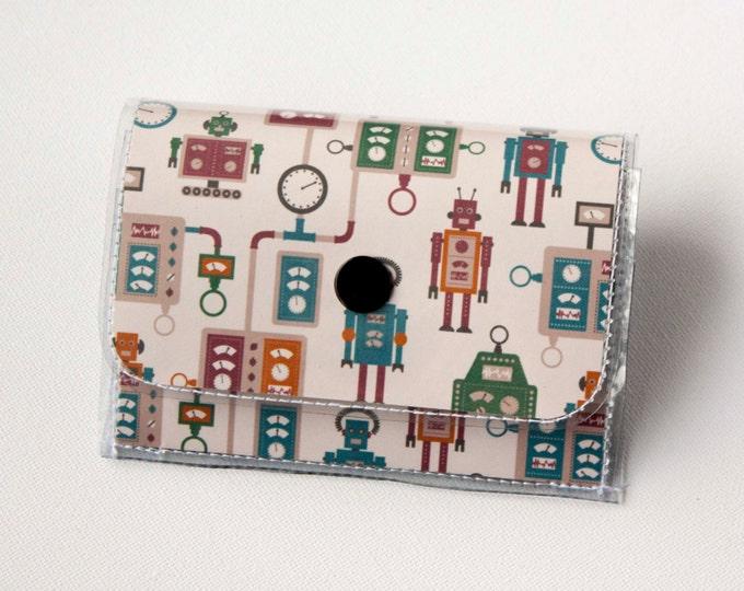 Vinyl Accordion Wallet - Machines / robot wallet, geek, nerd, scifi, robotic, snap, cute, card case, vinyl wallet, pouch, small, gift
