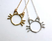 Cat Pendant - Handmade in Sterling or Brass - Whiskers, minimalistic cat, cat ears, cat necklace