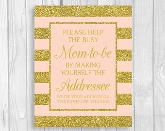SALE Printable Help the Busy Mom-to-Be 5x7 or 8x10 Write Your Address Baby Shower Sign in Pink and Gold Glitter Stripes - Instant Download