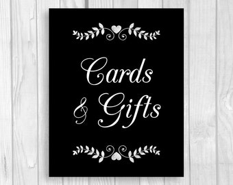 Printable Cards and Gifts 5x7, 8x10 Black and White Wedding Gift Table Chalkboard Sign with Hearts - Instant Download