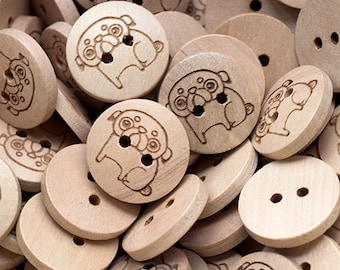 Custom button personalised wooden buttons 18mm with your own message or shop name