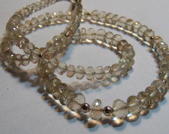 PREMIUM  * Georgeous Micro Faceted Oregon Sunstone  necklace ..14 kt Yellow Gold ...... e913