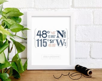 GPS Coordinates for Custom Location, Gift for Newlyweds, Wedding Location, Travel Art, New Family Home, Engagement Gift, New Baby, Honeymoon