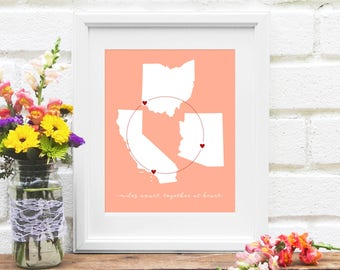 Long distance family etsy 3 states family map miss you gift for long distance family moving gift negle Choice Image