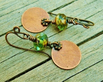 Czech Picasso Wire Wrapped dangles with copper daisy and disk earthy earrings