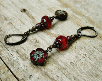 Deep Red Czech Picasso glass flower bead dangle earrings - wire wrapped in antiqued copper dangle earrings