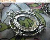 On Sale 25% Off Antiqued Silver Fancy Oak Leaf Settings for 25x18mm Oval Cabochons One Loop 4 Pcs