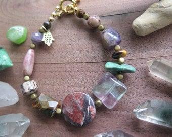 Gemstone Crystal Bracelet -Earthy Eclectic - Hamsa Charm- Boho Stone Jewelry - Bohemian Free Spirited Feather - Earthy Hippie Jewels OOAK