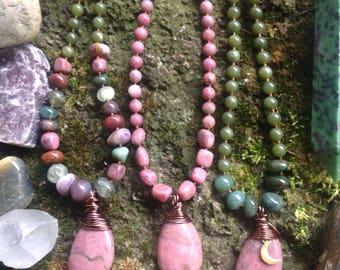 Crystal Choker Necklace - Gemstone - Pink Green - Moon - Free Spirited Gypsy Jewelry - Boho Chic - Funky Bohemian - Stone Pendant Drop