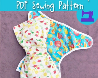 PDF SEWING PATTERN - Diaper Cover & One Size Mini Diaper Sewing Pattern - diaper covers, infant pattern, baby pattern, nappy cover, diaper