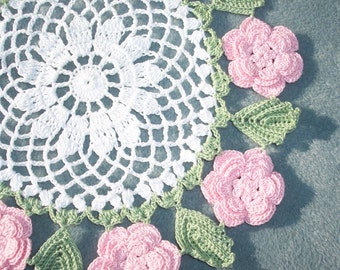 handmade round crochet doily with pink roses --  1823